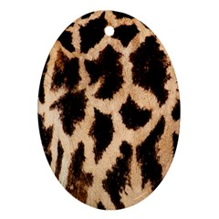 Yellow And Brown Spots On Giraffe Skin Texture Oval Ornament (two Sides)