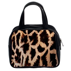 Yellow And Brown Spots On Giraffe Skin Texture Classic Handbags (2 Sides)