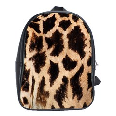 Yellow And Brown Spots On Giraffe Skin Texture School Bags(large)