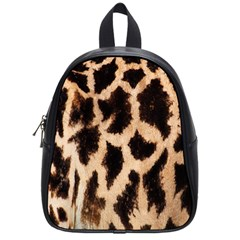Yellow And Brown Spots On Giraffe Skin Texture School Bags (Small)
