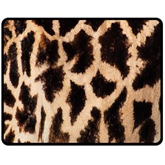 Yellow And Brown Spots On Giraffe Skin Texture Fleece Blanket (Medium)