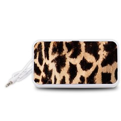 Yellow And Brown Spots On Giraffe Skin Texture Portable Speaker (White)