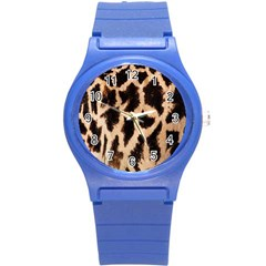 Yellow And Brown Spots On Giraffe Skin Texture Round Plastic Sport Watch (s)