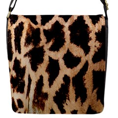 Yellow And Brown Spots On Giraffe Skin Texture Flap Messenger Bag (S)