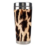 Yellow And Brown Spots On Giraffe Skin Texture Stainless Steel Travel Tumblers Left