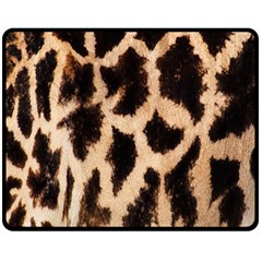 Yellow And Brown Spots On Giraffe Skin Texture Double Sided Fleece Blanket (medium)