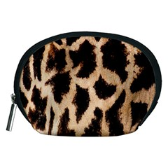 Yellow And Brown Spots On Giraffe Skin Texture Accessory Pouches (Medium)