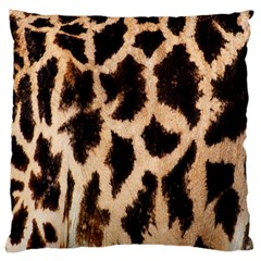 Yellow And Brown Spots On Giraffe Skin Texture Large Flano Cushion Case (two Sides)