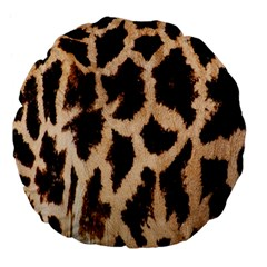 Yellow And Brown Spots On Giraffe Skin Texture Large 18  Premium Flano Round Cushions