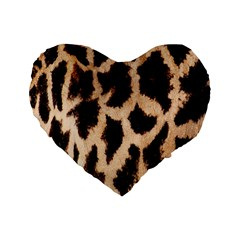 Yellow And Brown Spots On Giraffe Skin Texture Standard 16  Premium Flano Heart Shape Cushions