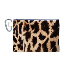 Yellow And Brown Spots On Giraffe Skin Texture Canvas Cosmetic Bag (m)