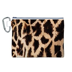 Yellow And Brown Spots On Giraffe Skin Texture Canvas Cosmetic Bag (l)