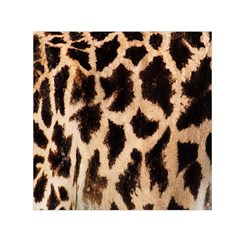 Yellow And Brown Spots On Giraffe Skin Texture Small Satin Scarf (square)