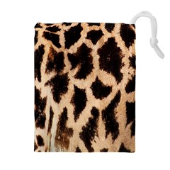 Yellow And Brown Spots On Giraffe Skin Texture Drawstring Pouches (Extra Large)