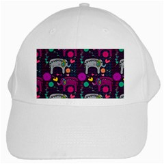 Love Colorful Elephants Background White Cap