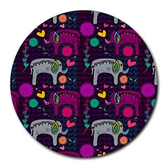 Love Colorful Elephants Background Round Mousepads