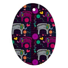 Love Colorful Elephants Background Ornament (Oval)
