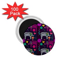 Love Colorful Elephants Background 1.75  Magnets (100 pack)