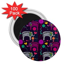 Love Colorful Elephants Background 2.25  Magnets (100 pack)