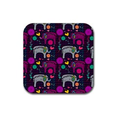 Love Colorful Elephants Background Rubber Coaster (Square)