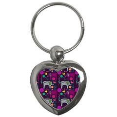 Love Colorful Elephants Background Key Chains (Heart)