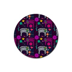 Love Colorful Elephants Background Rubber Round Coaster (4 pack)