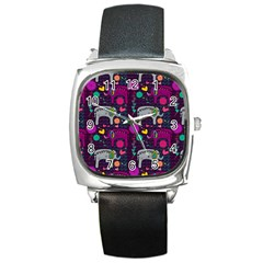Love Colorful Elephants Background Square Metal Watch