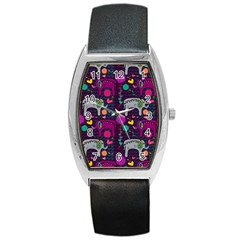 Love Colorful Elephants Background Barrel Style Metal Watch