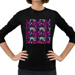Love Colorful Elephants Background Women s Long Sleeve Dark T-Shirts