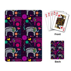 Love Colorful Elephants Background Playing Card