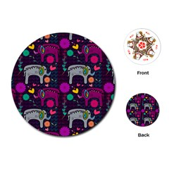 Love Colorful Elephants Background Playing Cards (Round)
