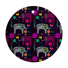 Love Colorful Elephants Background Round Ornament (two Sides)