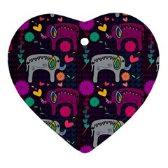 Love Colorful Elephants Background Heart Ornament (Two Sides)