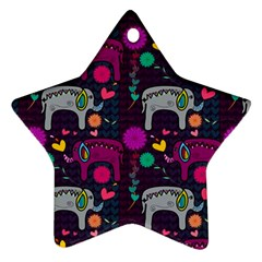 Love Colorful Elephants Background Star Ornament (two Sides)