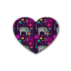 Love Colorful Elephants Background Rubber Coaster (Heart)