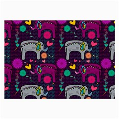 Love Colorful Elephants Background Large Glasses Cloth