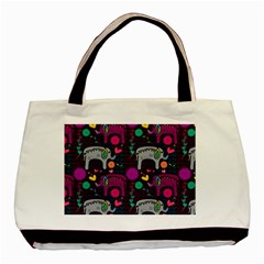 Love Colorful Elephants Background Basic Tote Bag (Two Sides)