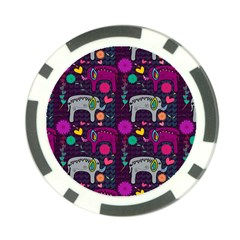 Love Colorful Elephants Background Poker Chip Card Guard