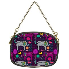 Love Colorful Elephants Background Chain Purses (One Side)
