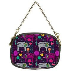 Love Colorful Elephants Background Chain Purses (two Sides)