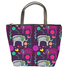 Love Colorful Elephants Background Bucket Bags