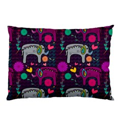 Love Colorful Elephants Background Pillow Case