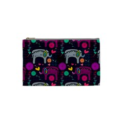 Love Colorful Elephants Background Cosmetic Bag (Small)