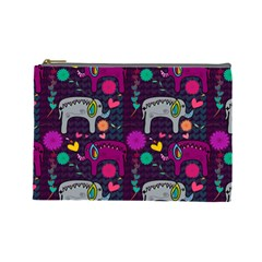 Love Colorful Elephants Background Cosmetic Bag (Large)