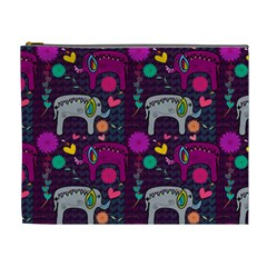 Love Colorful Elephants Background Cosmetic Bag (xl)