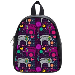 Love Colorful Elephants Background School Bags (Small)