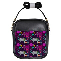 Love Colorful Elephants Background Girls Sling Bags