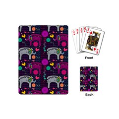 Love Colorful Elephants Background Playing Cards (Mini)