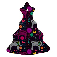 Love Colorful Elephants Background Christmas Tree Ornament (Two Sides)