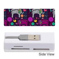 Love Colorful Elephants Background Memory Card Reader (Stick)